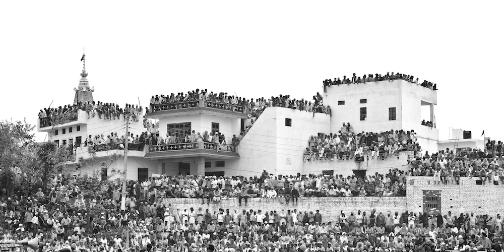 A black and white photo of the Hola Mohalla by Jagdev Singh