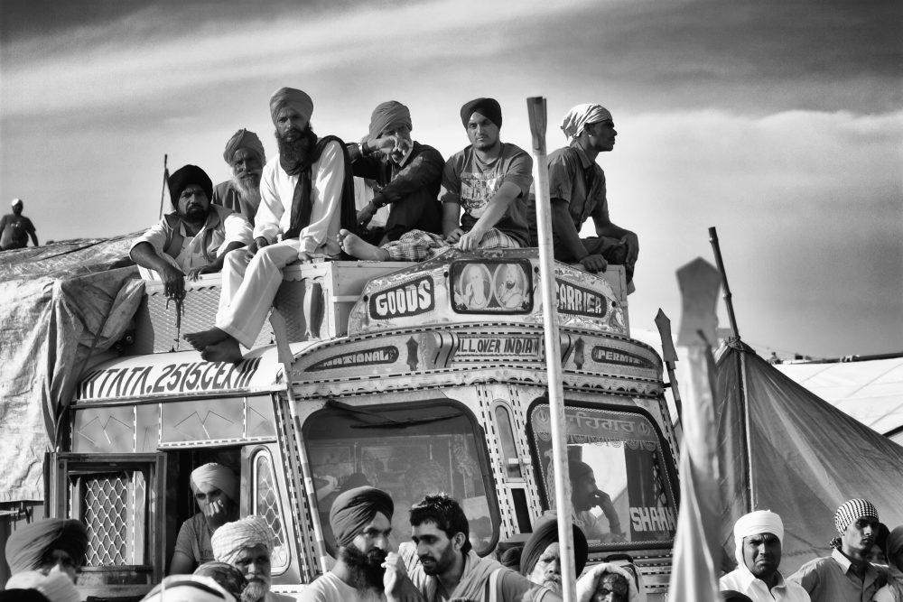 People on a bus by Jagdev Singh