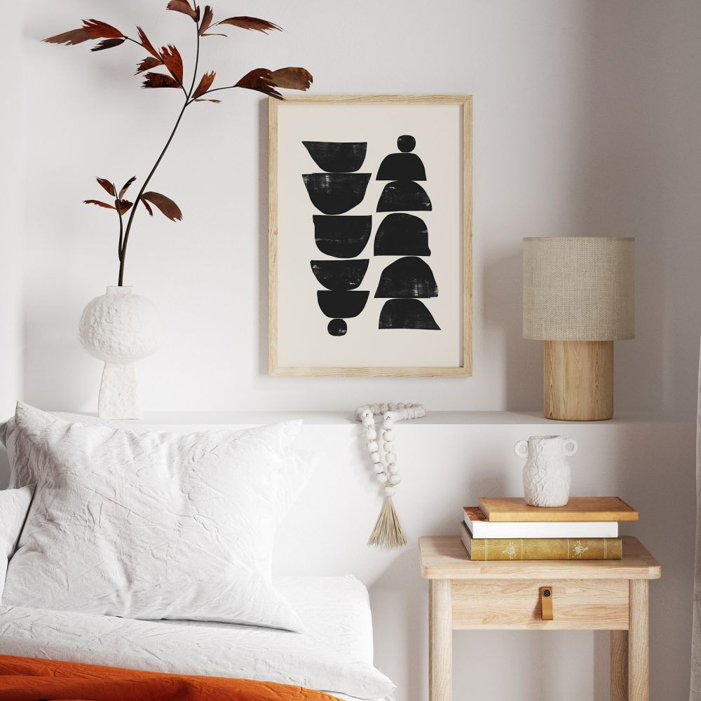 Gemütliche Japandi Ecke: Wandbild 'Minimal Plant' von Dan Hobday