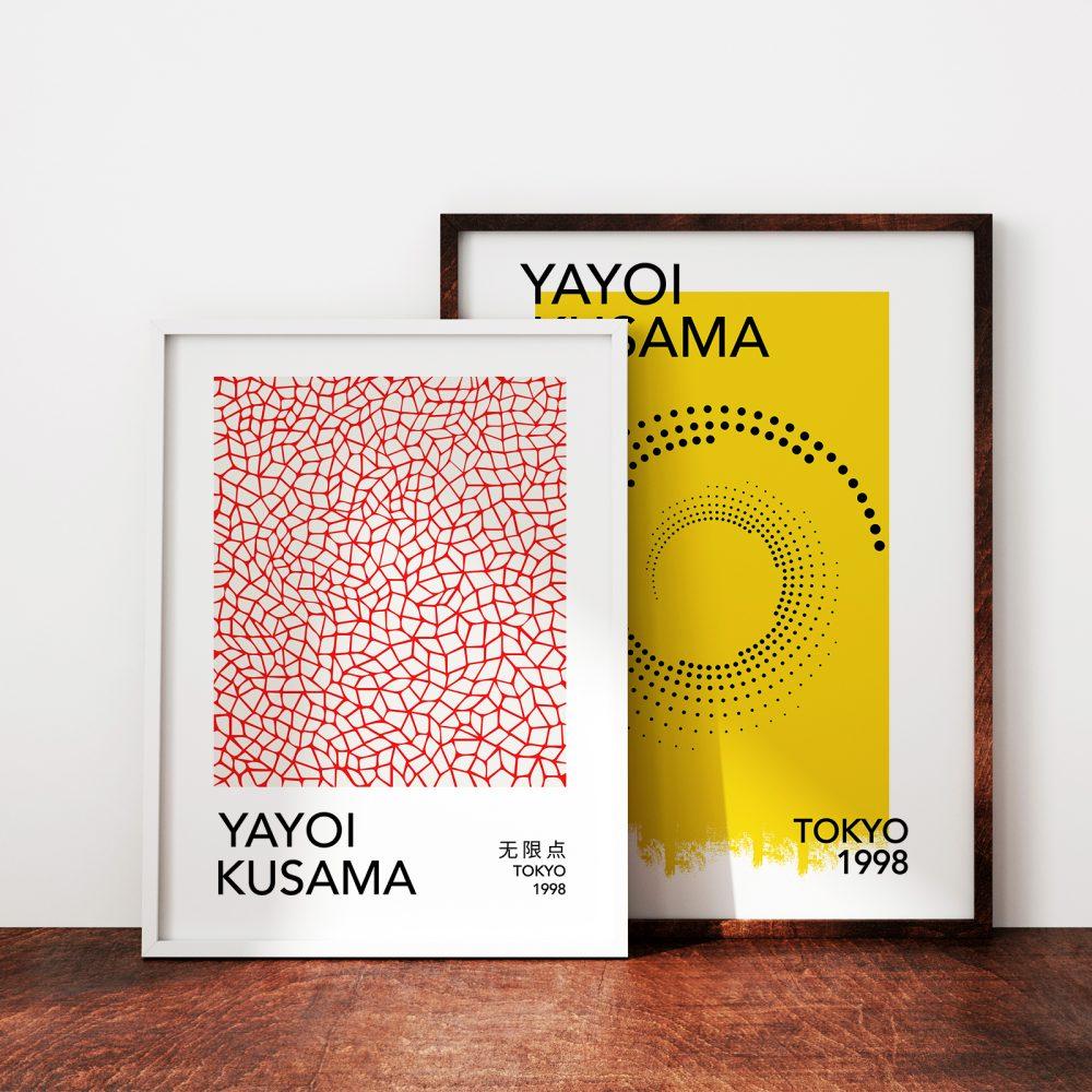 Gerahmte Vintage Ausstellungsposter 'Yayoi Kusama, Tokyo 1998' und 'Yayoi Kusama, Tokyo 1998' von Art Classics