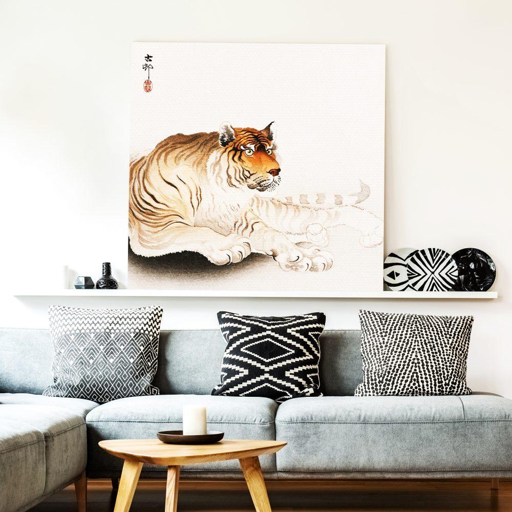 Leinwand als Bildträger wirkt besonders natürlich:   'Tiger von Ohara Koson' von Japanese Vintage Art