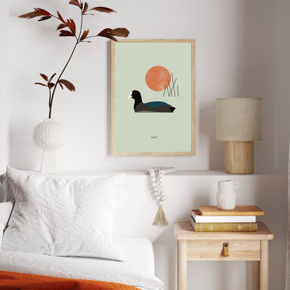 Sofaecke im Japndi Stil und Wandbild 'Blässhuhn' von Maja Modén