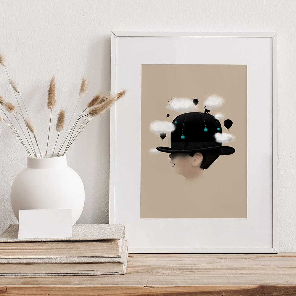 Illustration 'Dreaming' von Florent Bodart mit Passepartout und weißem Rahmen