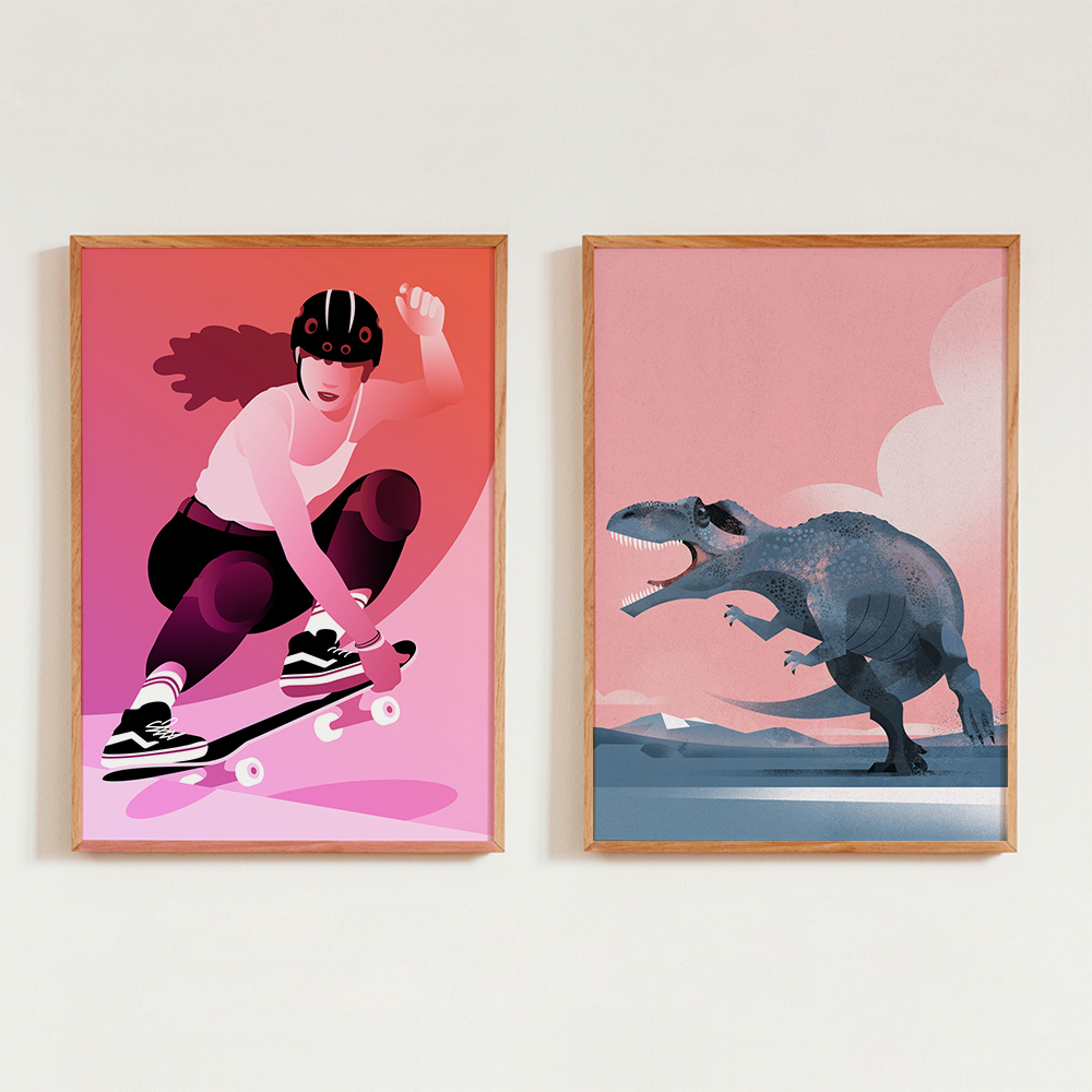 'Illustration - Skaterin macht Tricks mit Skateboard' von Pia Kolle und 'Gigantosaurus' von Dieter Braun