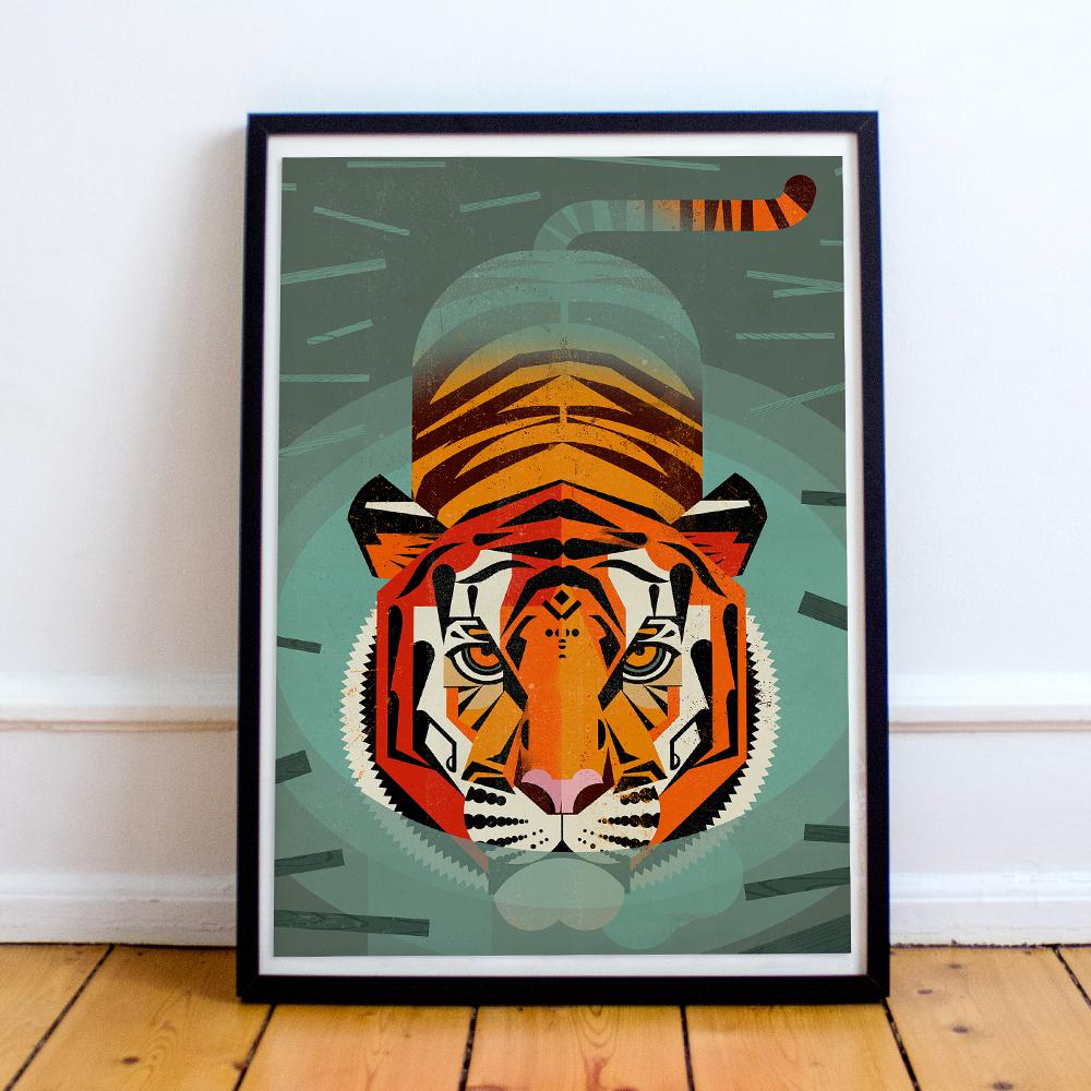 Gerahmtes Poster 'Tiger' von Dieter Braun