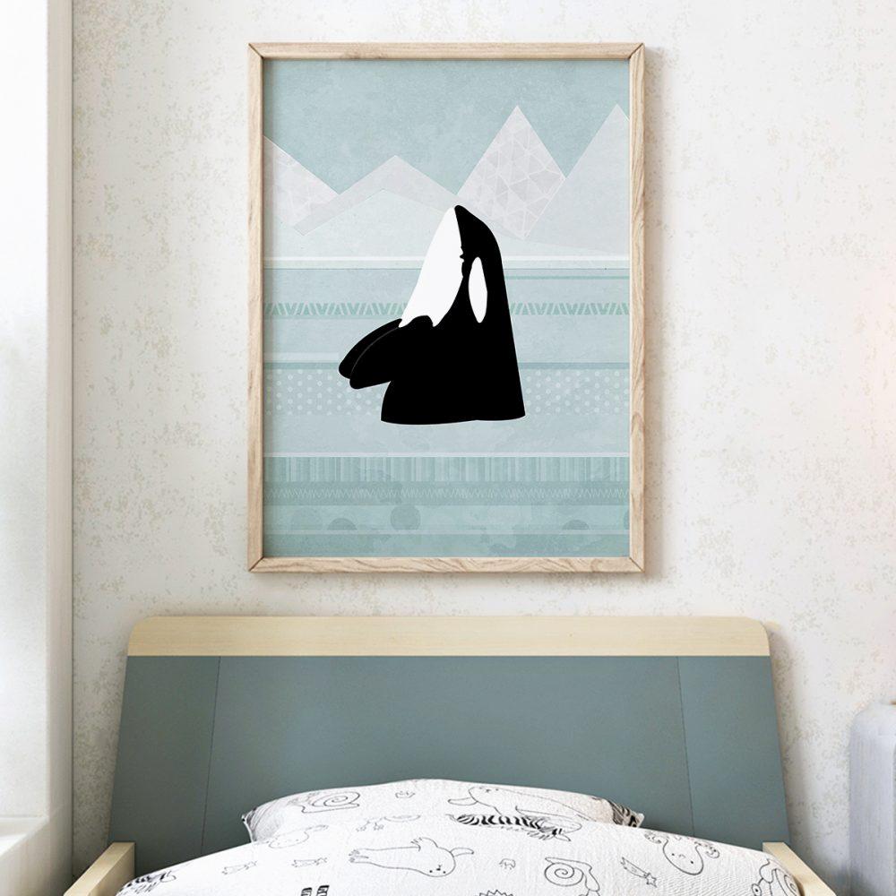 Wandbild mit Rahmen   'Orca' von Katherine Blower