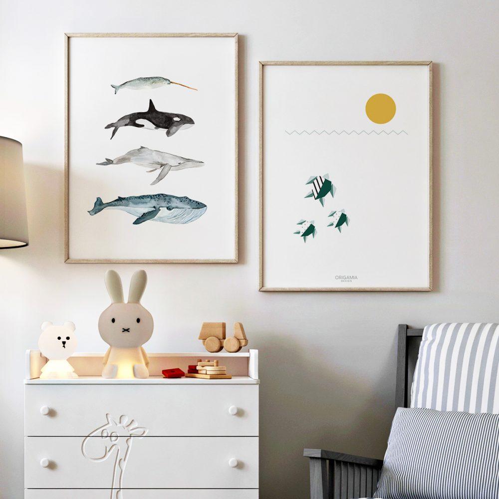 'Sea Life - Whales' von Christina Wolff und 'Sea Turtles | Sea Series | Origamia Design' von Anna Maria Laddomada