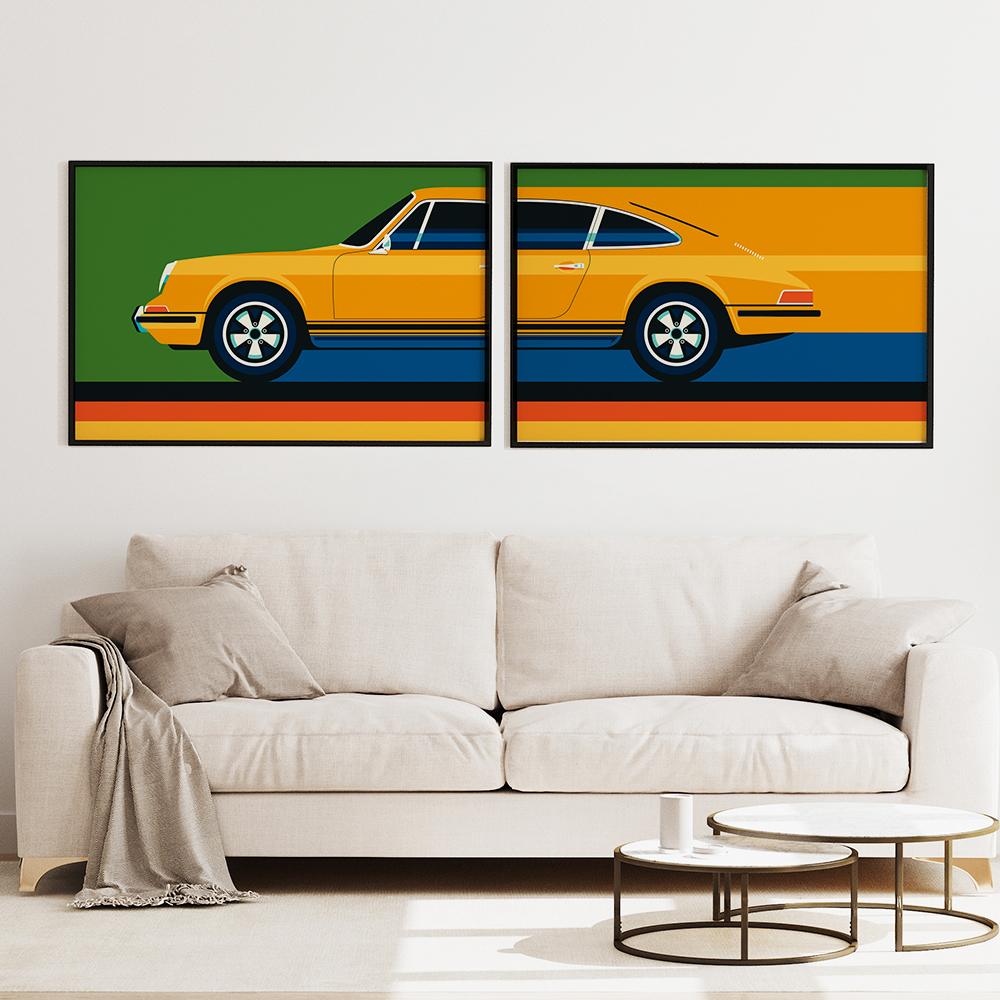 'Vintage Sports Car Yellow Green' und 'Yellow vintage sports car #2' von Bo Lundberg