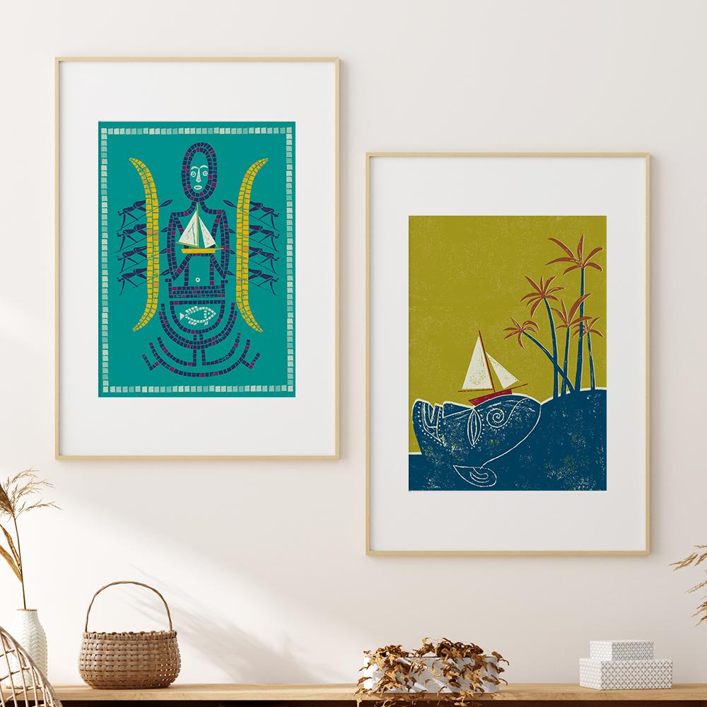 'Tiki' und   'Island' von Jean-Manuel Duvivier im Holzrahmen mit Passepartout