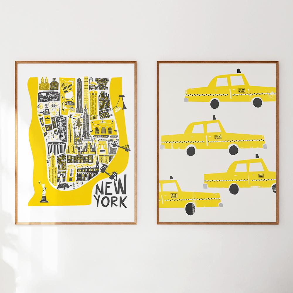 'Manhatten Map' und 'NYC Taxis' von Fox And Velvet