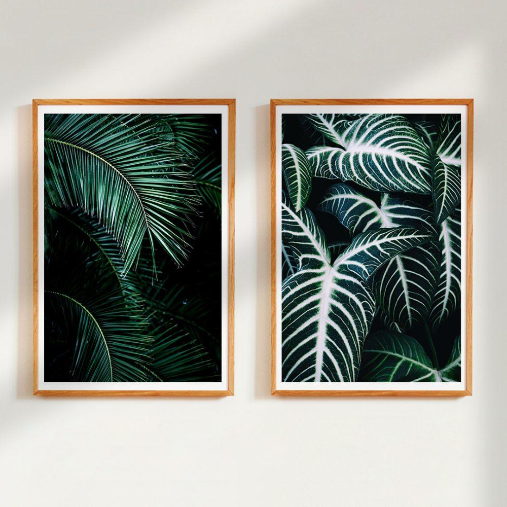 Gerahmte Wandbilder 'Palm Leaves 9' von Mareike Böhmer und 'Jungle 2' von Christina Ernst