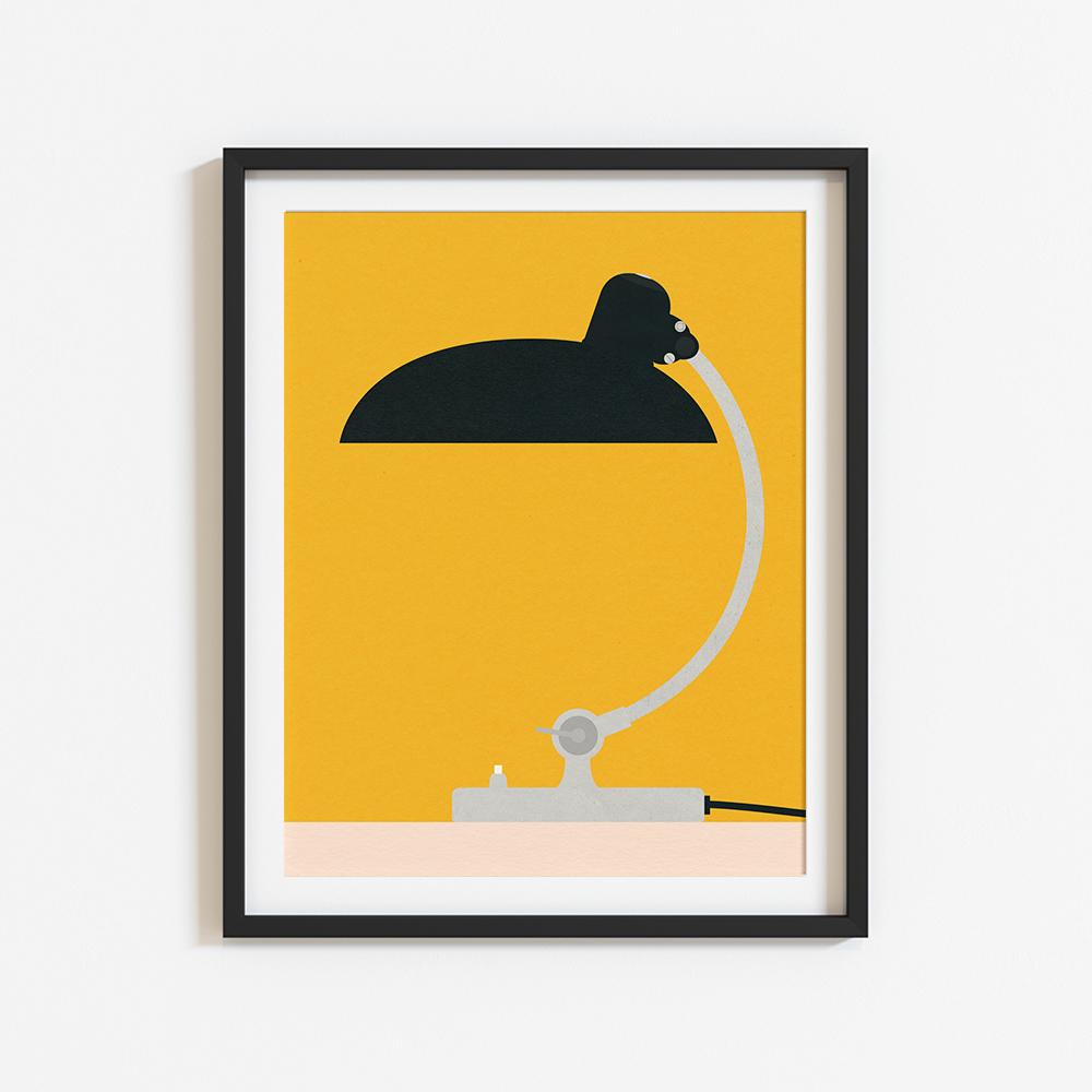 Gerahmtes Poster 'Bauhaus Table Lamp Kaiser Idell 6631' von Rosi Feist