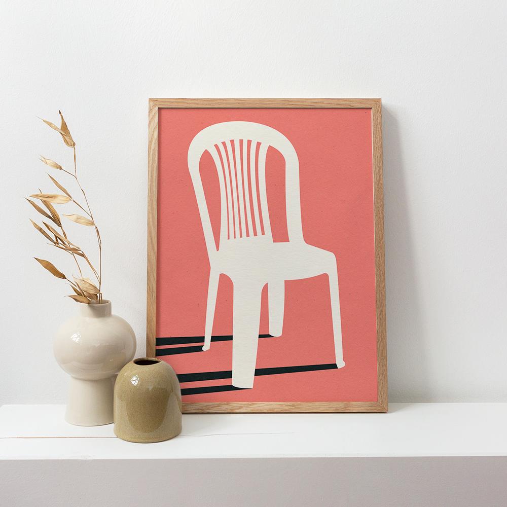 Gerahmtes Poster 'Monobloc Plastic Chair I' von Rosi Feist