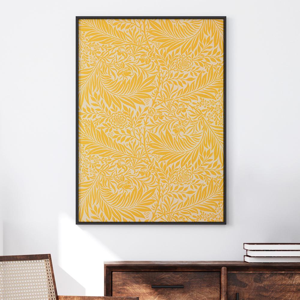 Poster im schwarzen Rahmen 'William Morris: Rittersporn' von Art Classics