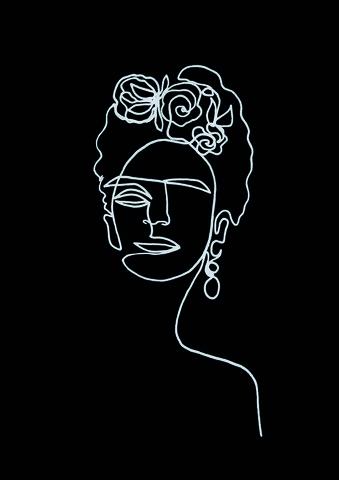 Frida Kahlo BW von Julia Hariri